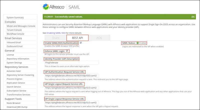Configuring SAML SSO settings for REST API using the Admin